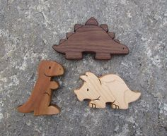DINOSAUR SET - 3 Wooden Toy Animals - T-Rex, Stegosaurus, Triceratops - all natural teethers and Waldorf toddler toys Wooden Animal Toys, Wood Toys, Wood Yard Art, Handmade Wooden Toys, Stacking Toys, Natural Toys, Woodworking Toys, Kids Wood, Wooden Puzzles