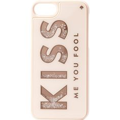 kate spade Kiss Me You Fool iPhone 7 Case - Kiss Me You Fool - Phone... ($55) ❤ liked on Polyvore featuring accessories, tech accessories, pink and kate spade
