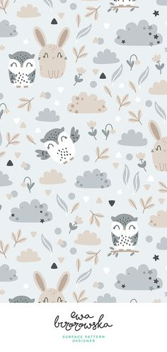 34 New Ideas For Children Illustration Background Art Prints Scandinavian Pattern, Scandinavian Nursery, Nursery Patterns, Owl Patterns, Cute Wallpaper Backgrounds, Pretty Wallpapers, Pattern Illustration, Illustration Children, Iphone Background Wallpaper