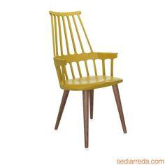 Comback 5954 - Sedia Kartell di design con gambe in legno, colore giallo