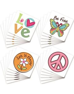 "Share the love with our Hippie Chick Tattoos! Package includes 24 sheets featuring 4 different tattoo designs. Designs feature a pink peace sign, a colorful butterfly with a ""Be free"" headline, a flower with a ""Let it grow"" headline and a ""Love"" tattoo. Tattoos are great for party favors in treat bags or boxes! Tattoos are applied with water, non-toxic and last 3-5 days."