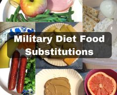 List of substitutes food alternatives for the 3 day military diet menu. If you don't like one of the foods on the main diet menu maybe one of these ...