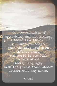 Rumi - Out beyond ideas of rightdoing.....