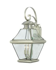 Quoizel Lighting RJ8411 P Rutledge Collection Three Light Exterior Outdoor Wall Lantern in Pewter Finish