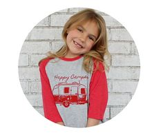 Happy Camper Baseball Style Tshirt Youth by CausticThreads on Etsy