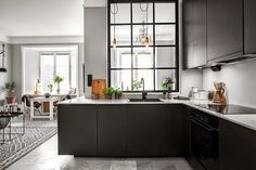 Big window in the kitchen. my scandinavian home: Shades of grey in a small living space Kitchens And Bedrooms, Home Kitchens, Dream Kitchens, Home Decor Kitchen, Kitchen Interior, Space Kitchen, Open Kitchen, Room Kitchen, Kitchen Living