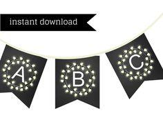 chalkboard bridal shower banner, bunting, Printable, chalkboard baby shower banner, chalkboard banner, Birthday banner, wreath flower banner