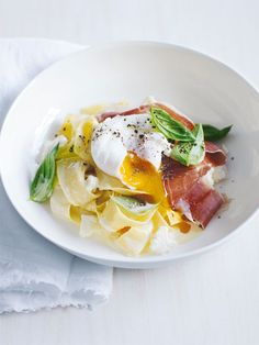 pasta with proscuitto and soft boiled egg, basil