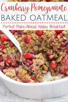 Cranberry pomegranate baked oatmeal is a delicious holiday make ahead breakfast idea, plus it's healthy and filling. #holidaybreakfast #bakedoatmeal #pomegranaterecipes #holidaybreakfastideas Breakfast Options, Make Ahead Breakfast, Breakfast Bake, Pomegranate Recipes, Baked Oatmeal Recipes, Christmas Morning Breakfast, Meal Prep, Meals, Baking