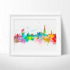 Rainbow Crafts, Watercolor Images, Nursery Wall Art, Vienna, Wall Art Prints, Illustration Art, Skyline, Drawings, Artist