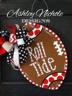 Items similar to Alabama Crimson Tide Inspired Football Door Hanger, Door Decoration,  Fall Wreath, Wooden Football on Etsy