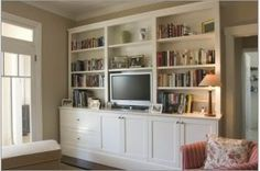 Plain Entertainment Unit Photo: This Photo was uploaded by MyHouseIdeas. Find other Plain Entertainment Unit pictures and photos or upload your own with. Built In Wall Shelves, Built In Tv Wall Unit, Room Shelves, White Entertainment Unit, Ikea Lounge, Wall Unit Designs, Dining Decor, Built Ins, Home Renovation