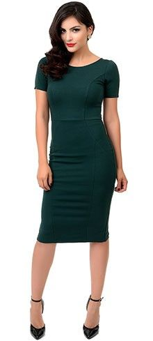 Unique Vinatge 1960s Green Short Sleeve Stretch Mod Wiggle Dress