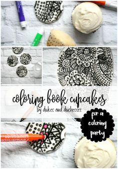 These coloring book cupcakes, made with fondant and edible markers, are the…