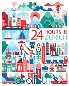 24 hours in Zurich, Switzerland. Illustration by Fernando Volken Togni