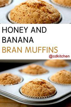 Honey and Banana Bran Muffins - Recipe is made with walnuts, baking soda, salt, bran cereal, milk, egg, canola oil, ground cinnamon, banana, vanilla extract, honey, flour    CDKitchen.com