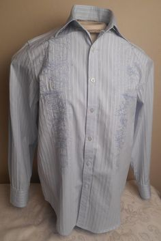 TOMMY BAHAMA Men's Light Blue Striped Embroidered Long Sleeve Size S Shirt