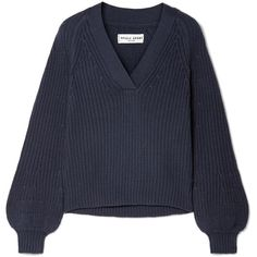APIECE APART Astro ribbed cotton and cashmere-blend sweater (£280) ❤ liked on Polyvore featuring tops, sweaters, majice, storm blue, ribbed crop top, layered sweater, ribbed sweater, v neck crop top and blue v neck sweater