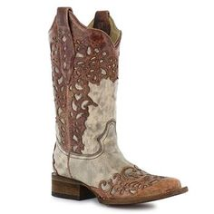 Corral Women's Flower Overlay Square Toe Fashion Boots