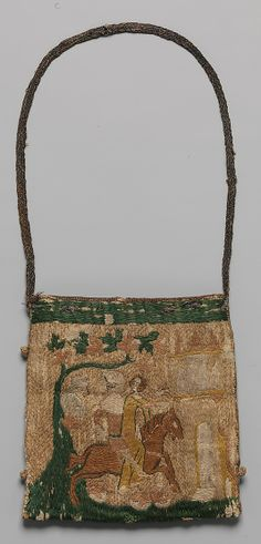 Purse with scenes from the story of Patient Griselda Date: 14th century Culture: French Medium: Silk and metal thread on canvas