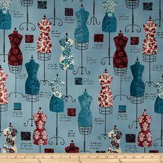 Dress Up Mannequin Vintage Teal - Discount Designer Fabric - Fabric.com