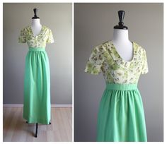 Bright Green Floral Vintage Empire Waist Long Dress / 1960s Semi-Formal Mod / Rockabilly Hippie Bohemian / Poppies Lime / Bridesmaid Wedding by TheMermaidTattoo on Etsy https://www.etsy.com/listing/156146626/bright-green-floral-vintage-empire-waist