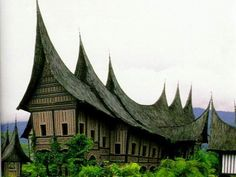 Traditional house where a big extended family lives..Rumah Gadang, West Sumatera, Indonesia