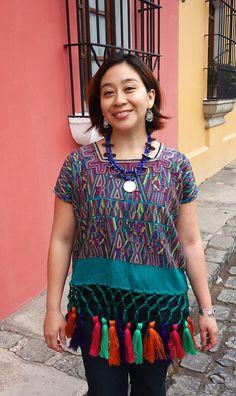 Maya Woman's Vintage Geometric Multi Color Huipil Textile Boho Poncho with Fringe from Nebaj, Guatemala