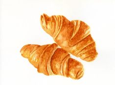 Croissants - ORIGINAL Painting (Still Life, Kitchen Wall Art, Watercolour Food Illustration) 7.5x10
