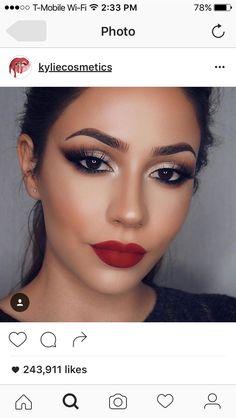 Pin by julissa C on Make up Formal Makeup, Prom Makeup, Bridal Makeup, Wedding Makeup, Pageant Makeup, Red Lip Makeup, Smokey Eye Makeup, Face Makeup, Red Dress Makeup