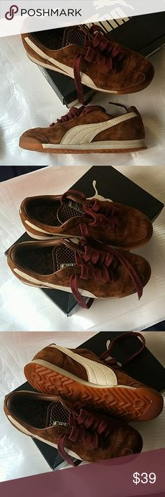 Womens Brown Suede Pumas Womens Brown Suede Pumas Women's size 7 Hardly used in GREAT CONDITION Dark Burgundy shoe laces Super cute and very Fashionable Box is not included I do bundle and offers are welcome Puma Shoes Sneakers