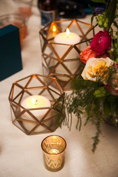 This intimate modern industrial styled wedding, features gold geometric features and colourful floral displays.