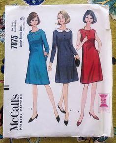 McCall's 7875 Junior Petite Dress Pattern, Size 11 - 13 Vintage 1965 $10.00