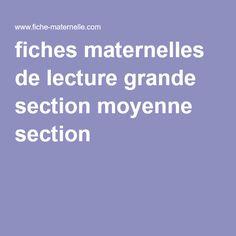 fiches maternelles de lecture grande section moyenne section