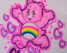 Airbrushed T-shirt - Care Bears Cheer Bear- Sizes Youth Adult to Airbrush Designs, Airbrush Art, Airbrush Shirts, Care Bear Birthday, Face Aesthetic, Happy Hippie, Graffiti Alphabet, Rainbow Brite, Care Bears