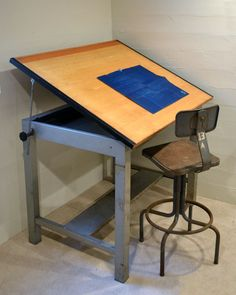 Vintage Drafting Table Industrial Era Metal Architects