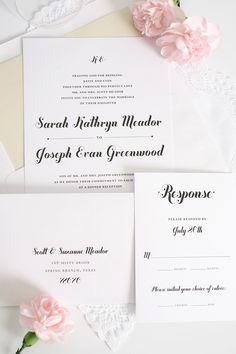 Whimsical Script Wedding Invitations.