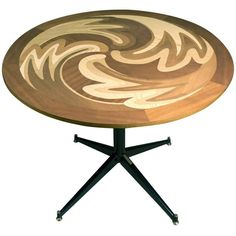 Exclusive 'Atom' Wood Inlay Table with a Natural Finish 1