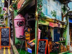 Haji Lane, Singapore. Was once Singapore's Arab Muslim quarter. Today, it is a hub of art, fashion, culture and food.