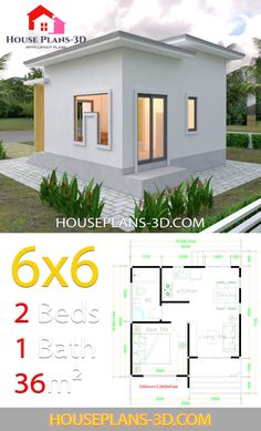 2 Bedroom House Plans Elegant House Plans with E Bedrooms Flat Roof – modern courtyard house plans Small Modern House Plans, Small House Floor Plans, Dream House Plans, Small House Plans, Flat House Design, Simple House Design, Flat Design, Cottage House Plans, Bedroom House Plans
