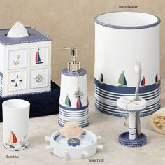 bathroom accessories set nautical