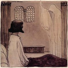"""The gray apparition was still standing behside his bed"", illustration from ""The King's choice"" tale, ""Swedish fairy tales"", by Elsa Olenius, Holger Lundbergh (trad), 1974 ; illustration by John Bauer (originally published in ""Bland Tomtar Och Troll"")"