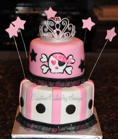 Skull Princess Cake~ perfect for 3-of my friends baby girls bdays!!! ;) ~LIZ WOULD LOVE THIS FOR EMY!!! ;)