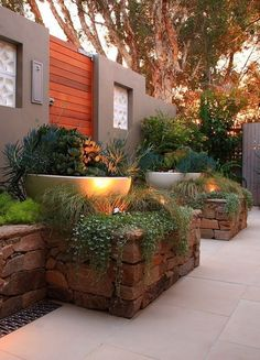 Mid-Century Modern Homes For Sale Tampa Outdoor Retreat, Outdoor Decor, Outdoor Living, Stone Planters, Backyard Planters, Small Backyard Landscaping, Backyard Ideas, Rustic Stone, House Yard