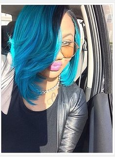 cute • colored • bob • bob life • blueish - green • bob hairstlye • short • short hairstyle • assymetrical • tapered • layer • full bang • summer • spring • fun • cool • pretty • different • bleach • dyed • women • teen