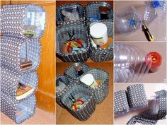 Pasi de urmat pentru a crea o cutie pentru depozitare din sticle PET How to make storage containers from plastic bottles Materials needed: pet bottles 5 liters (can use more) – cutter, scissors -double-sided adhesive tape -candle (optional) -fabric to c Reuse Plastic Bottles, Plastic Bottle Crafts, Recycled Bottles, Carillons Diy, Diy Para A Casa, Pet Bottle, Diy Recycle, Diy Home Crafts, Recycled Crafts