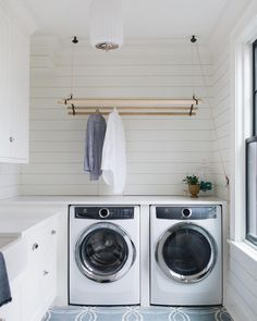 Since it's a job that literally is never complete. My advice is to at least love the space it all happens in. I think this laundry room in our Inverway project fits the bill. Wall Mounted Drying Rack, Hanging Drying Rack, Drying Rack Laundry, Hanging Rail, Drying Racks, Laundry Nook, Laundry Room Storage, Laundry Hacks, Laundry Basket