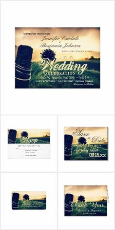 Country Field Fence Post Wedding Invitation Set for a rustic country wedding.  #wedding