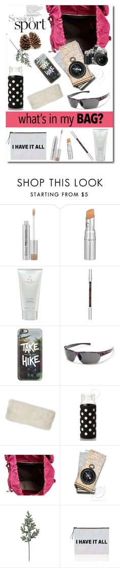 """""""What's In My Bag ?"""" by dianefantasy ❤ liked on Polyvore featuring Blinc, Chantecaille, Aromatherapy Associates, Clarins, Casetify, SunCloud Polarized Optics, Overland Sheepskin Co., Kate Spade, Osprey and Nikon"""