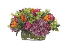 Rose, Hydrangea, Tiger Lily (PF261): Rose Hydrangea, Purple Fuchsia, Low Glass Bowl, 19wx19dx11h
